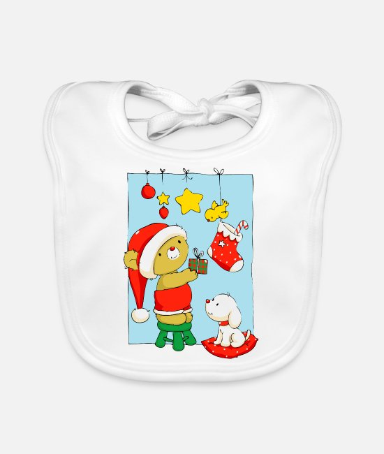 Christmas Baby Bibs - Christmas Bear doing Christmas decorations - Baby Bib white