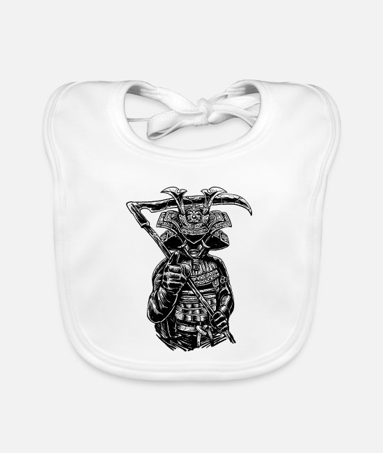 Fighter Baby slabbetjes - Japanse samurai reaper knight warrior fighter - Slabbetje wit