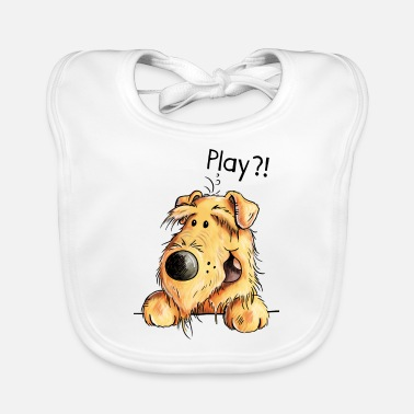 Dog Cartoon Verspielter Airedale Terrier - Welsh Terrier - Dog - Baby Bib