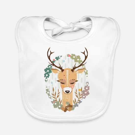 Nature Baby Clothes - A deer in the forest - Baby Bib white