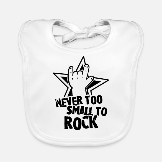 Girl Baby Clothes - never too small to rock - geburt - baby -kleinkind - Baby Bib white