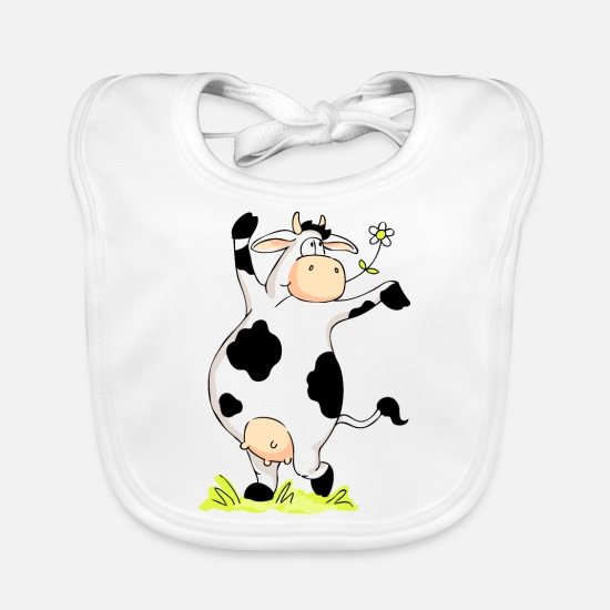Star Baby Clothes - Posing Cow - Baby Bib white