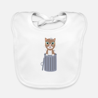 Trash Can Cute cat in the trash can - Baby Bib