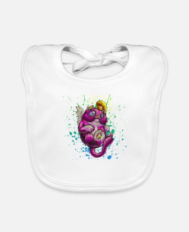 Cats And Dogs Collection Baby Bibs - Saint cat - Baby Bib white