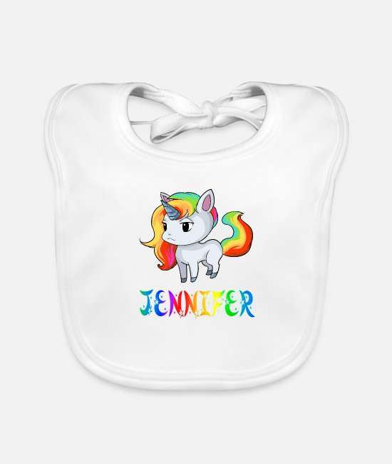 Jennifer Unicorns Baby Bibs - Jennifer unicorn - Baby Bib white