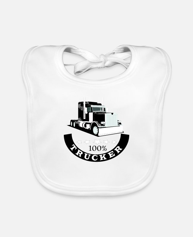 Black And White Baby Bibs - Trucker, 100% Trucker, Trucker Shirt - Baby Bib white