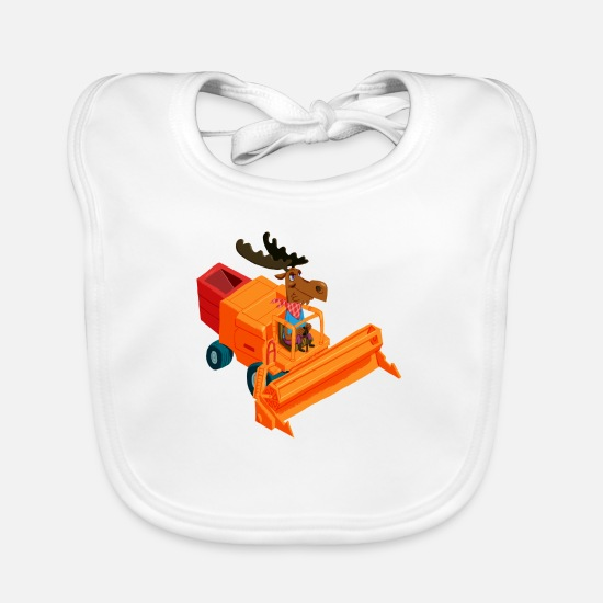 Combine Baby Clothes - Elk in the combine harvester - Baby Bib white