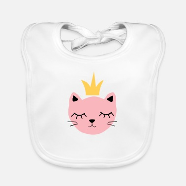 Pink cat with crown - Baby Bib