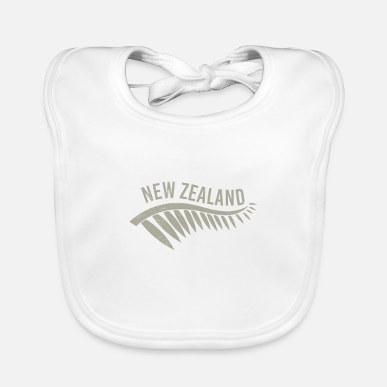 Christmas Baby Clothes - Maori New Zealand Silverfarn Tribal Tattoo Gift - Baby Bib white