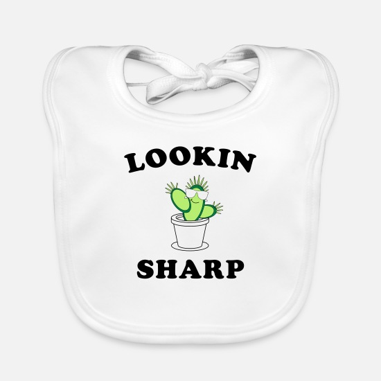 Cool Baby Clothes - Looking Sharp Cactus - Baby Bib white