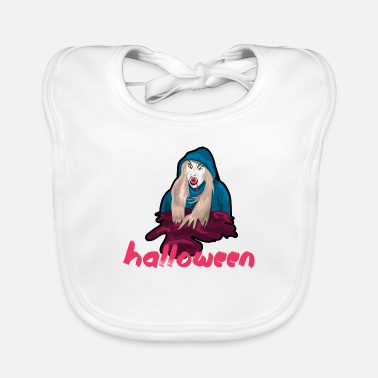 Hotshot Halloween monster with scary mask disguised blood - Baby Bib