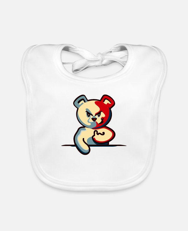 Rocky Mountains Baby Bibs - Teddy o Bear - I can not do Keener (teddy bear DDP) - Baby Bib white