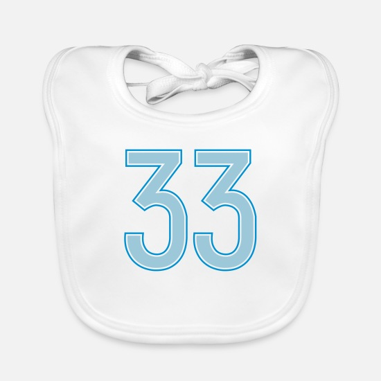 33 Baby Clothes - 33, Dreiunddreißig, Thirty Three, Pelibol ™ - Baby Bib white