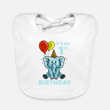 Birthday Cute 1st First Birthday Elephant - Baby Bib