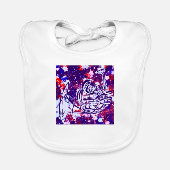 Jackson Baby Clothes - Abstract horn - Baby Bib white