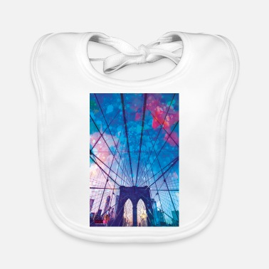 I Love 01 Brooklyn Bridge Poster Margarita Art - Baby Bib