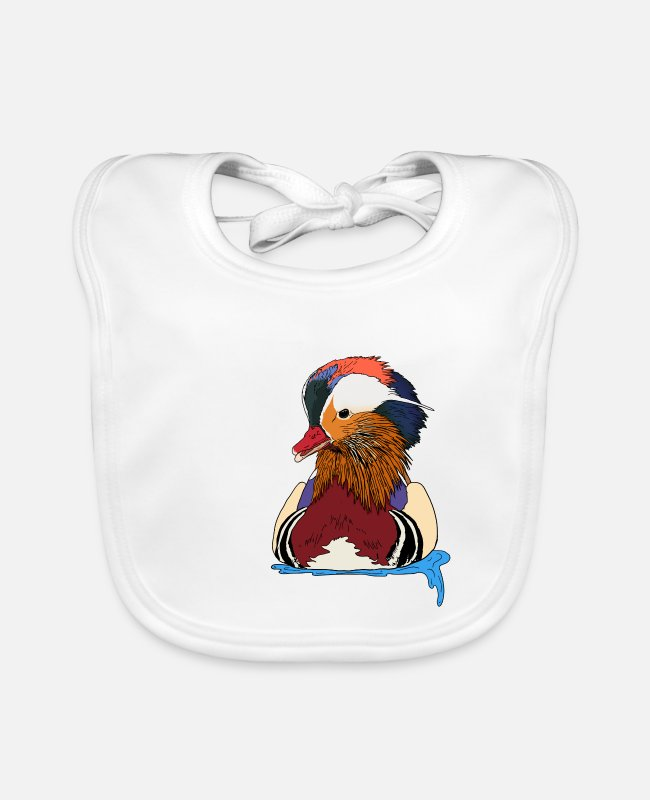 Christmas Baby Bibs - beautiful floating mandarin duck with great feathers - Baby Bib white