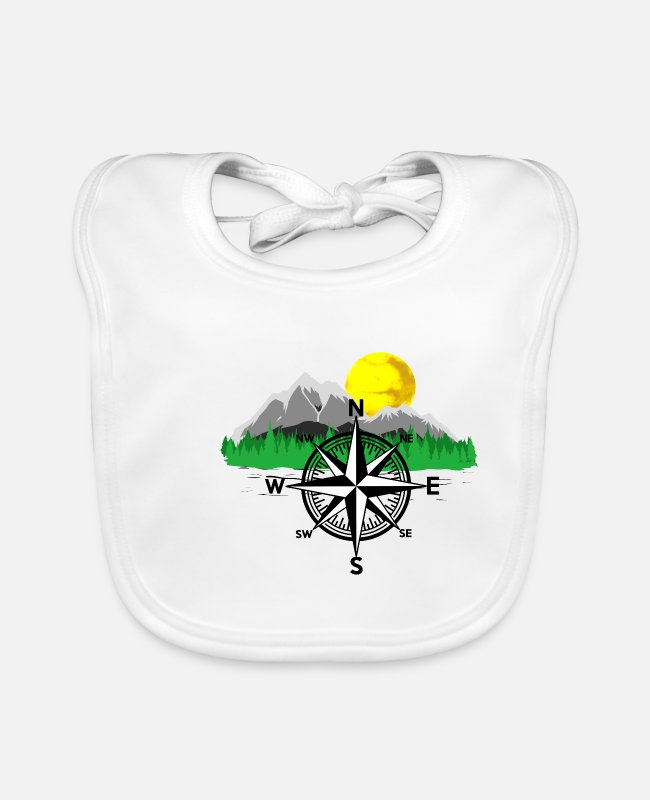 Mountains Baby Bibs - Mountain Mountain Mountaineer Nature Compass - Baby Bib white