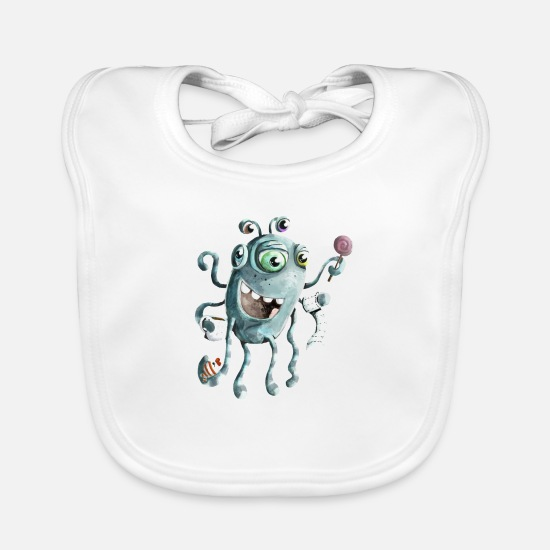 Jellyfish Baby Clothes - Funny monster of the deep sea - Baby Bib white