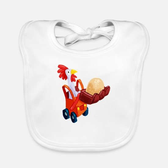 Funny Baby Clothes - Chicken in an excavator - Baby Bib white