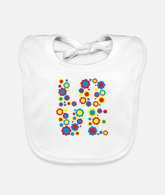 Design Baby Bibs - Flower Love by Cheerful Madness!! - Baby Bib white