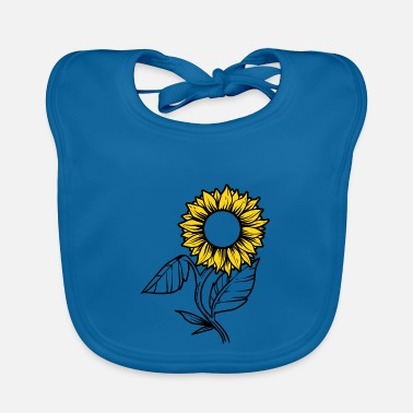 Yellow Sunflower with leaves black and yellow - Baby Bib