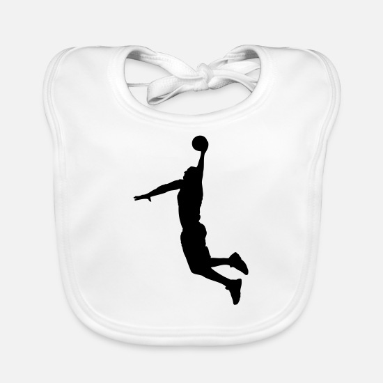Basket Baby Clothes - Basketball Player Slam Dunk - Baby Bib white