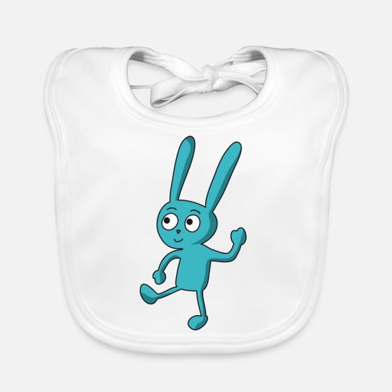 Gift Idea Baby Clothes - dancing, funny, blue cartoon bunny - Baby Bib white