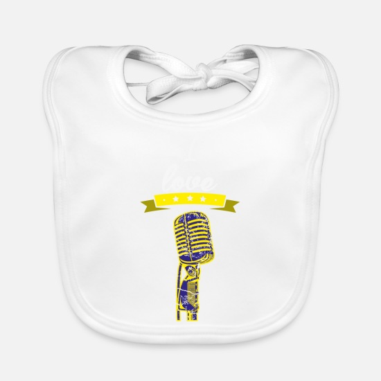 Birthday Baby Clothes - I love microphone singer gift I love - Baby Bib white