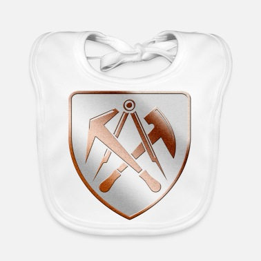 Roof Truss Roofer Roofers coat of arms shield in 3D - Baby Bib
