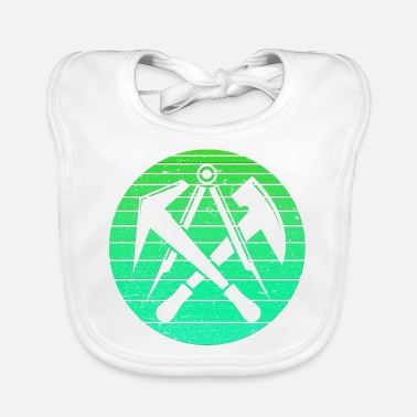 Roof Truss Roofer Retro vintage roofer artisan green - Baby Bib