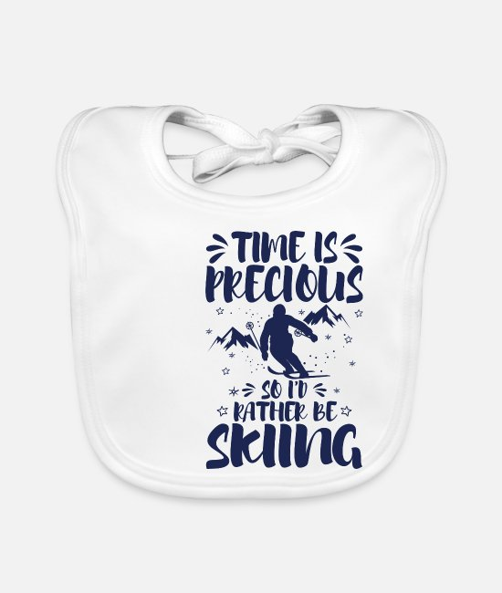 Ski Baby Bibs - Cool Funny Ski Instructor Skiers Skiing Love - Baby Bib white