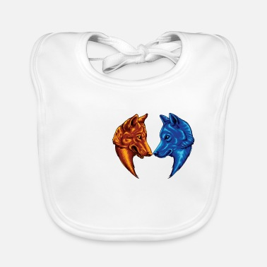 Fire and Water Wolf Good and evil wolves - Baby Bib