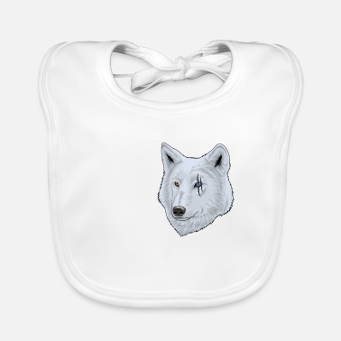 White wolf with scar on the eye for animal lovers - Baby Bib