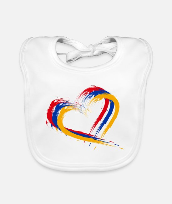 Armenia Baby Bibs - Heart brush flag Armenia colors flag - Baby Bib white