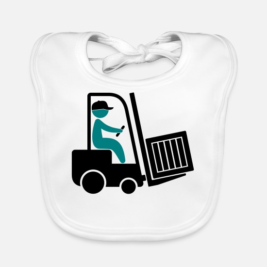 Career Baby Clothes - A forklift transporting a box - Baby Bib white