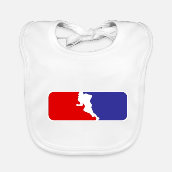 Stadium Baby Clothes - American Football - Quarterback Tackle Field Goal - Baby Bib white