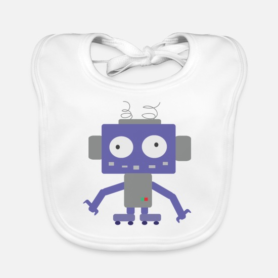 Robot Baby Clothes - Cute Little Robot - Baby Bib white