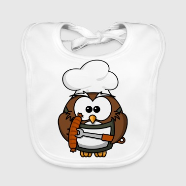 Owl on grill with food comic style - Baby Organic Bib