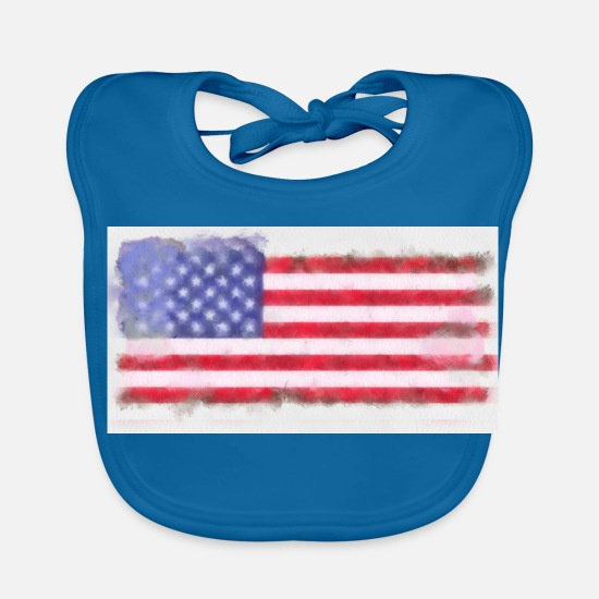Flag Baby Clothes - American flag USA flag - Baby Bib peacock-blue