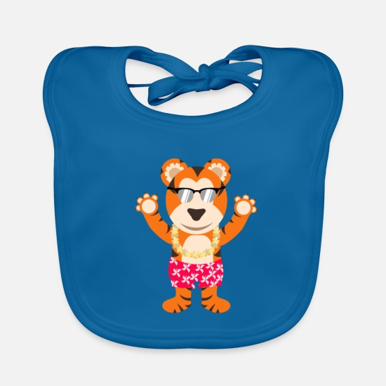 Swim Baby Clothes - Tiger vacation beach - Baby Bib peacock-blue
