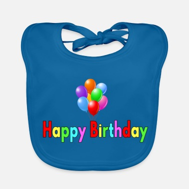 Happy Birthday Happy Birthday Balloon - Ekologisk babyhaklapp