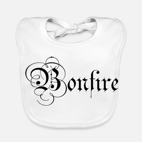 Girl Baby Clothes - Medieval Bonfire lettering Black - Baby Bib white