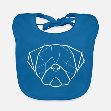 Triangolo Pug Geometrical Face - Pug head Geometric white - Bavaglino