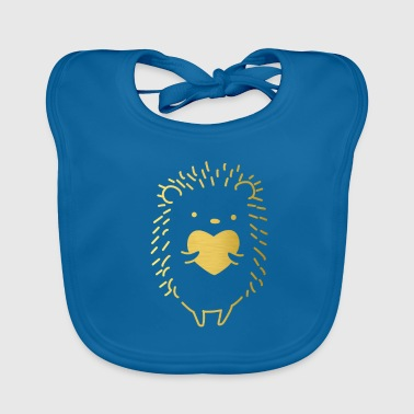 Golden Golden hedgehog with a golden heart in the hand. - Baby Organic Bib