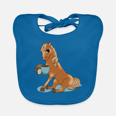 Equitation Horse with coffee gift horsewoman equitation - Baby Bib