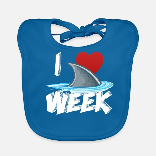 Birthday Baby Clothes - I Love The Week Of Sharks Cute Novelty Gift Idea For Shark Lovers Graphic Shark Fin - Baby Bib peacock-blue