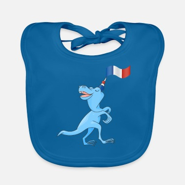 French Flag Funny T.Rex with French Flag - Baby Organic Bib