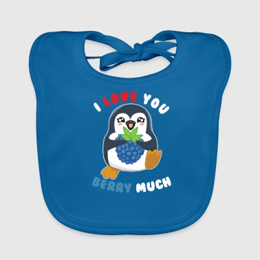 I Love You Berry Much Cute Penguin Animal Pun - Bio-slabbetje voor baby's