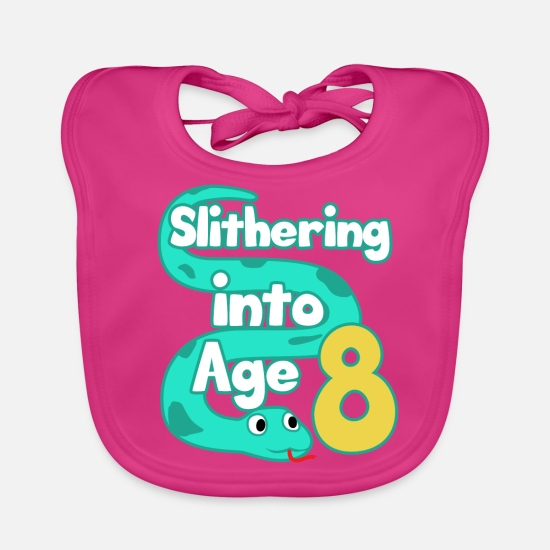 Gift Idea Baby Clothes - Snake 8th Birthday Party Eighth Boa Gift - Baby Bib fuchsia